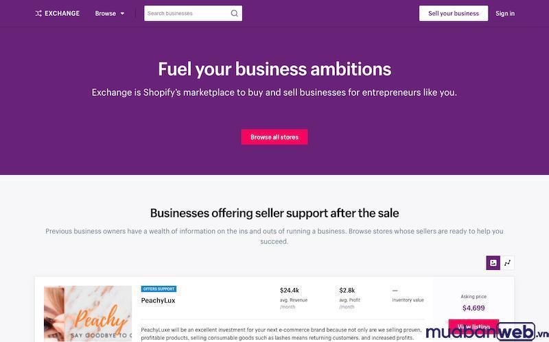 Shopify Exchange - Thị trường của Shopify