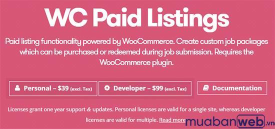 sử dụng Danh sách trả phí của WB để tính phí cho các bài nộp